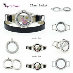 25mm 316l Stainless Steel Living Memory Glass Locket Pendant Fit Floating Charms