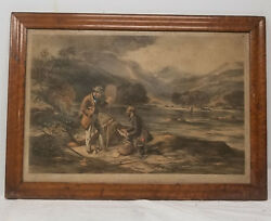 Antique Framed Colored Lithograph Print Trout Fishing Gauci Hanhart Sporting