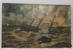 Antique Early Folky Americana Ship Nautical Painting Unsigned Repaired