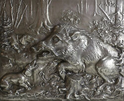 Fritz Diller Silverplate Repousse Boar And Dogs Silver Wall Plaque Wood Framed