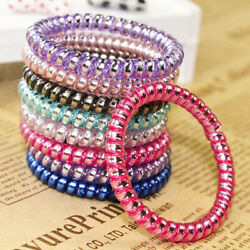 USA 15PCS Elastic Hair Ties Colorful Extendable Coiled Telephone Cord Wire Rings