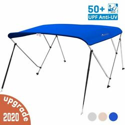3 Bow Boat Bimini Tops Boat Canopy Boat Shade With Support Pole Boot Blue 61-66