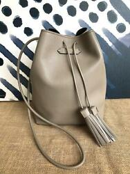 $1650 TOM FORD Taupe Leather Double Tassel Medium Bucket Bag Women's Purse SALE!