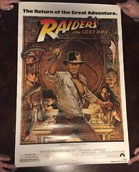 INDIANA JONES RAIDERS OF THE LOST ARK 1982 ORIGINAL MOVIE POSTER 1ST ISSUE 27X41