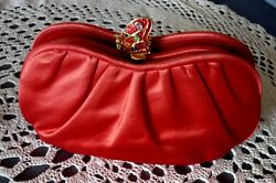 JUDITH LEIBER 1980's Red Satin EVENING BAG Butterfly Clasp in Red Rhinestones