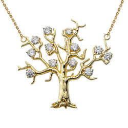 0.60 Ctw Tree Necklace In 14k Yellow Gold