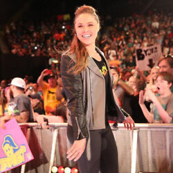 Ronda Rousey worn & signed Rowdy t-shirt first ever go home Raw WWE COA