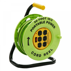 Designers Edge Power Stations 123-Gauge Cord Reel with 6 Outlets 50-Foot NEW