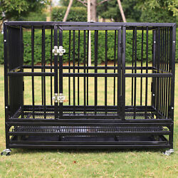 37 Black Dog Crate Heavy Duty Large Kennel Folding Cage Playpen W/tray And Wheels