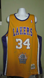 5xl Lakers 34 Shaquille O'neal 2000 League All Star Finals Mvp Jersey Signed