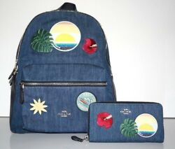 Coach Women's Charlie Denim Blue Hawaii Patches Backpack and Wallet Set F28958