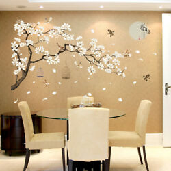 Blooming Flowers And Full Moon Wall Stickers Home Decor Living Room Bedroom Wall