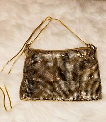 Whiting and Davis metal mesh golden clutchshoulder  evening night out bag