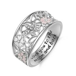 Fashion Carved 925 Silver Women Wedding Rings Cubic Zirconia Ring Size 6 10 $2.52