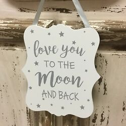 White amp; Silver Love You to the Moon and Back Sign Nursery Stars Gisela Graham