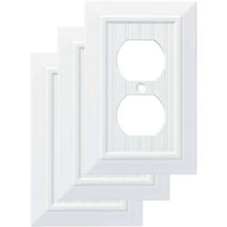 Switch Wall Plate Duplex Beadboard Decorative Cover Indoor Outdoor White 3 Pack