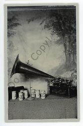 Rppc Portrait Of An Edison Cylinder Horn Phonograph Vintage Real Photo Postcard