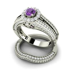 1.29 Ct Amethyst And Si1 Diamond Engagement / Wedding Ring Set In 14k White Gold