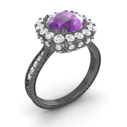 Certified 2.29 Ctw Amethyst And G/si Diamond 14k Black Gold Halo Engagement Ring