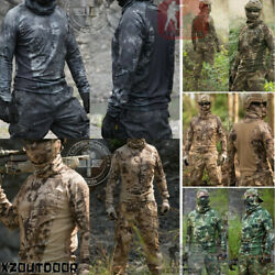Airsoft Mens Military Long Sleeve Tactical T-shirt Army Combat Hiking Camouflage