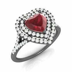 1.37 Ct Solid 14k Black Gold Stunning Heart-cut Natural Ruby And G/si Diamond Ring