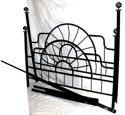 Vintage Black Iron Bed Frame Head Board, Foot Board, And Rails, Full Size