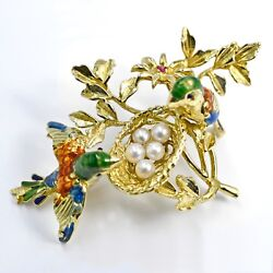 Brooch 18k Yellow Gold The Bird's Nest Enamel Pin With Pearls And Red Ruby