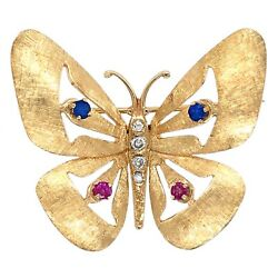 Brooch 14k Yellow Gold Butterfly Pin With Diamond Ruby And Sapphire Estate Jewelry