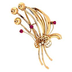 Brooch 18k Yellow Gold Billy Button Floral Spray Pin With Diamond Ruby - Vintage