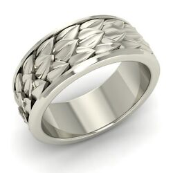 Vintage Inspired Menand039s Wedding Anniversary Band/ring 10k White Gold-8.5 Mm Width