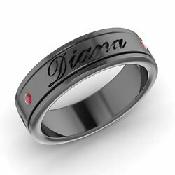 Engravable Mens Wedding Band Ring With Ruby Solid 14k Black Gold Jewelry
