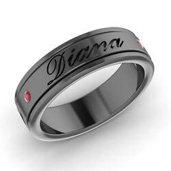 Engravable Menand039s Wedding Ring / Band With Ruby In Solid 14k Black Gold