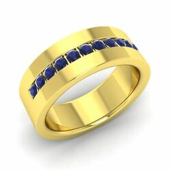 6 Mm Width Solid 14k Yellow Gold Menand039s Wedding Ring / Band With Blue Sapphire