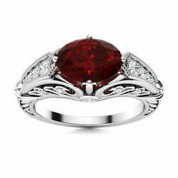 Art Deco Look Engagement Ring Certified Natural Garnet And Si Diamond White Gold
