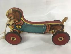 The Gong Bell Mfg. Co. East Hampton Conn. Dutchie Dog 230 Pull Toy 1940