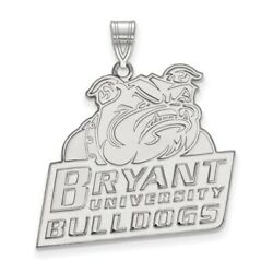 Bryant State University Bulldogs School Mascot Pendant In 14k And 10k White Gold