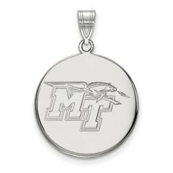 Middle Tennessee State Blue Raiders School Letters Disc Pendant In White Gold