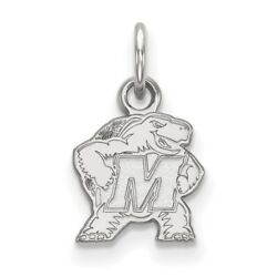 University Of Maryland Terrapins School Mascot Pendant In 14k And 10k White Gold