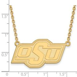 Oklahoma State Cowboys Osu School Letters Logo Pendant Necklace In Yellow Gold