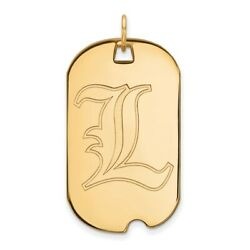 Louisville Cardinals School Letter Logo Dog Tag Pendant In 14k And 10k Yellow Gold