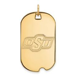 Oklahoma State Cowboys Osu School Letters Dog Tag Pendant 14k And 10k Yellow Gold