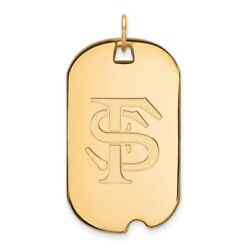 Florida State Seminoles School Letters Logo Dog Tag Pendant In 14k Yellow Gold