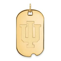 Indiana University Hoosiers School Letters Logo Dog Tag Pendant In Yellow Gold