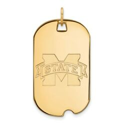 Mississippi State Bulldogs School Logo Dog Tag Pendant In 14k And 10k Yellow Gold