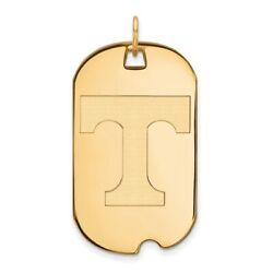 Tennessee Volunteers School Letter Logo Dog Tag Pendant In 14k And 10k Yellow Gold
