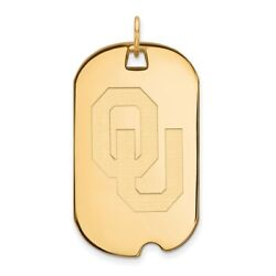 Oklahoma Sooners Ou School Letters Logo Dog Tag Pendant In 14k And 10k Yellow Gold
