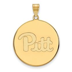 Pittsburgh Panthers Pitt School Letters Logo Disc Pendant 14k And 10k Yellow Gold