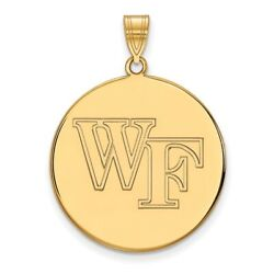 Wake Forest Demon Deacons School Letters Logo Disc Pendant 14k And 10k Yellow Gold