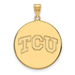 Texas Christian Tcu Horned Frogs School Letters Disc Pendant In 14k Yellow Gold