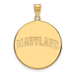University Of Maryland Terrapins School Name Disc Pendant 14k And 10k Yellow Gold